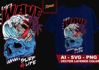 Artwork Vector Enjoy the Wave Surf 4 Life Ai, PNG, SVG t shirt design for sale