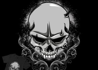 skull abstract engraving t shirt design to buy