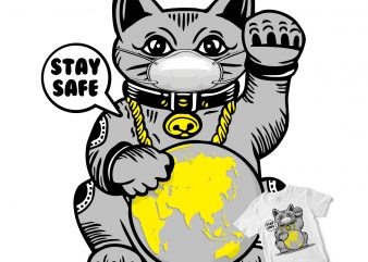 luckycat stay safe t-shirt design png