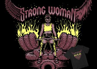Strong Woman gym tire graphic t-shirt design