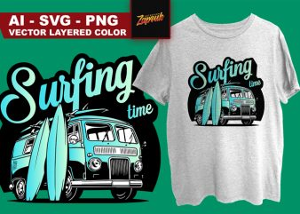 Surfing time t-shirt design for commercial use