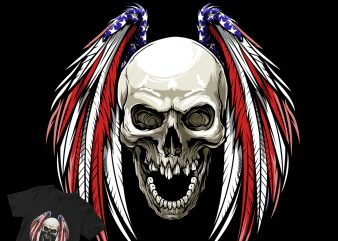 wings american skull t shirt design for purchase