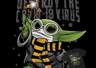 Baby yoda destroy covid-19 design for t shirt t-shirt design png