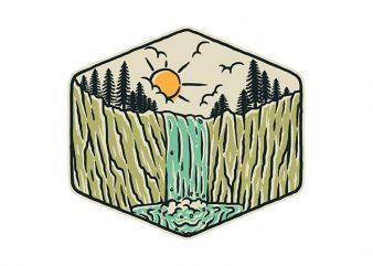 Beauty Waterfall shirt design png