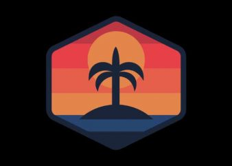 Sunset Beach Island print ready t shirt design