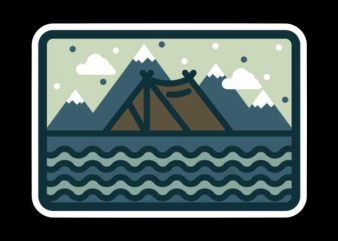 Camp Mountain Beach View t shirt design for purchase