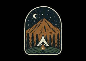 Camp Mountain Night design for t shirt