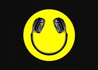 Smile Headphone music graphic t-shirt design