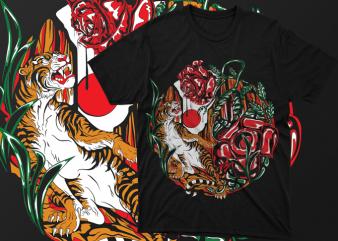 Tiger vs Rafflesia monster Artwork Vector – tshirt design for sale ai, svg,png