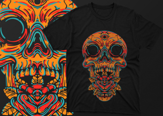 Skull 3 Eyes Artwork Vector – tshirt design for sale ai, svg,png