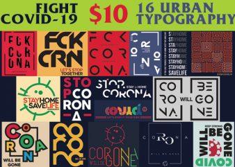 16 Fight Corona Urban Typo Designs Bundle