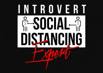 introvert social distancing expert t-shirt design png