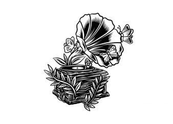 gramophone vintage music flower butterfly print ready t shirt design