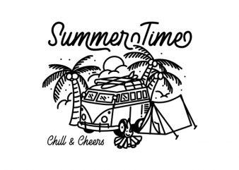 Handrawing line art Summer Time Beach Camping Wild Life buy t shirt design