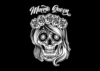 Muerte Queen Sugar Skull graphic t-shirt design