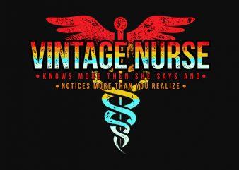 Vintage Nurse t-shirt design png