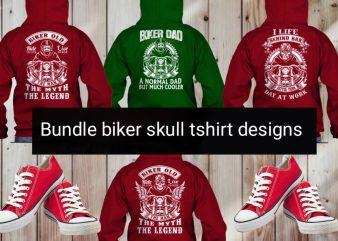 4 Motorcycle biker skull tshirt designs bundle