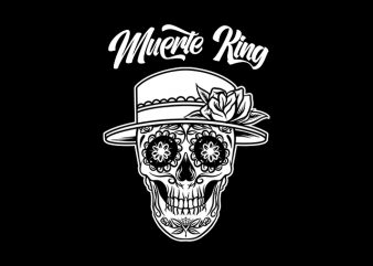 Muerte King Sugar Skull shirt design png t shirt design for download