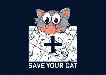 Save your cat, corona awareness t shirt design to buy