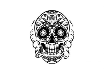 Smoking Weed Sugar Skull t shirt design template