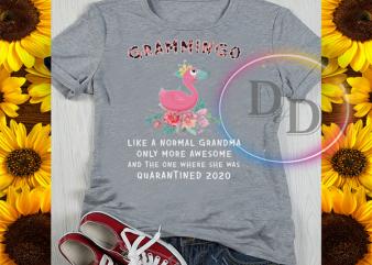 Grammingo Flamingo Like a Normal Grandma Quarantined 2020 shirt design png