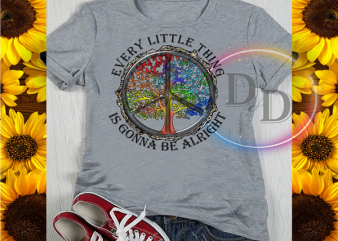 Every Little thing is gonna be alright tree hippie quarantined corona virus 2020 buy t shirt design for commercial use