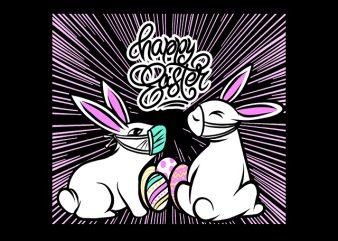 happy easter rabbit bunny coronavirus t shirt design for purchase