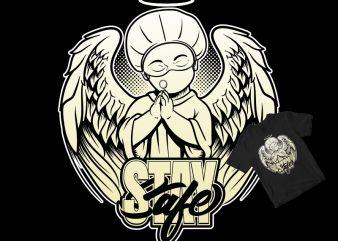 PLEASE STAY SAFE, BABY ANGEL NURSE, CORONA shirt design png buy t shirt design artwork