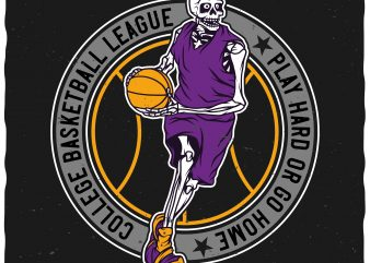 Basketball skeleton t shirt design for sale