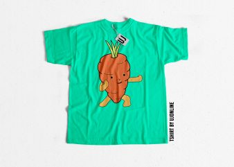CARRATE Funny Carrot Cartoon buy t shirt design for commercial use