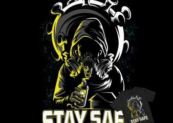 STAY SAFE, DESTROY CORONA print ready t shirt design