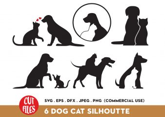 Dog and cat silhouette Bundle t shirt vector illustration
