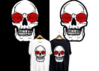 Skull Red Rose T-Shirt Design for Commercial Use