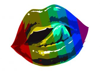 Lips Sexy Rainbow, Sexy Lips Rainbow T-Shirt Design for Commercial Use