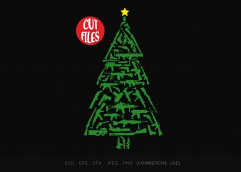 Gun christmas tree t shirt design for sale