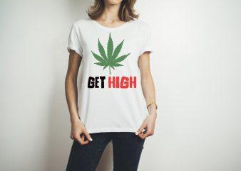 GET HIGH STONER LOGO design for t shirt graphic t-shirt design