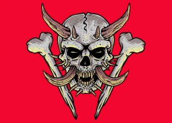 Horned Skull graphic t-shirt design
