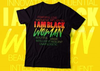 I AM BLACK WOMAN | BEAUTIFUL,MAGIC,RESILIENT,UNAPOLOGETIC t shirt design for download