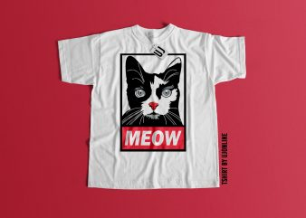 MEOW CAT GRAPHIC t shirt design for purchase