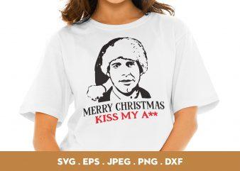 Merry Christmas Kiss My Ass commercial use t-shirt design