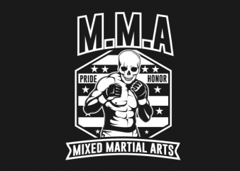 SKULL MMA BLACK AND WHITE t-shirt design