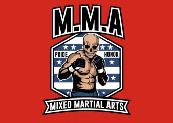 SKULL MMA FULL COLORS t-shirt design png
