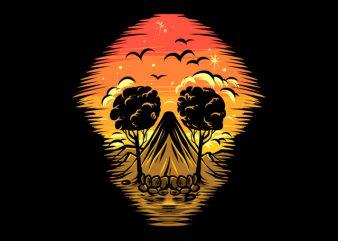skull Summer Sunset t shirt design for purchase