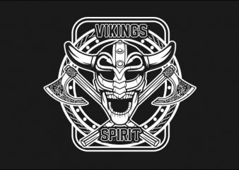 SKULL VIKING BLACK AND WHITE t-shirt design