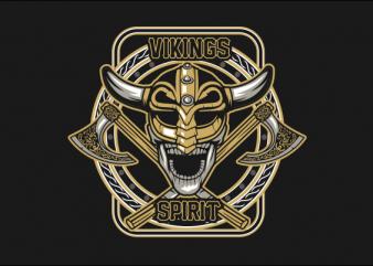 SKULL VIKING FULL COLORS graphic t-shirt design