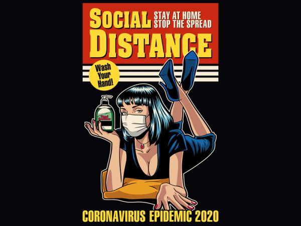 SOCIAL DISTANCE t shirt design for purchase