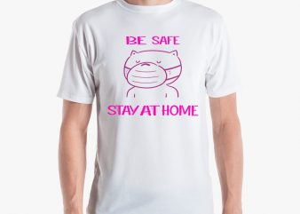 CAT BE SAFE LOGO t-shirt design for commercial use