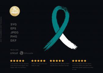 Cancer Ribbon t shirt design for download