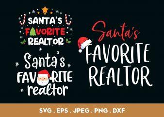 Santa's Favorite Realtor Bundle t shirt design to buy