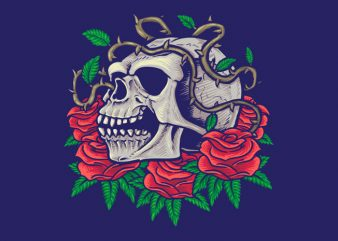 Skull and Roses t-shir templatet design t shirt design to buy